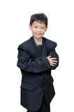 Boy in big suit over white Royalty Free Stock Photo