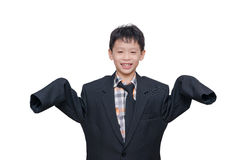 Boy in big suit over white Stock Image