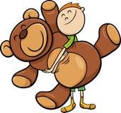 Boy with big teddy cartoon Royalty Free Stock Photography
