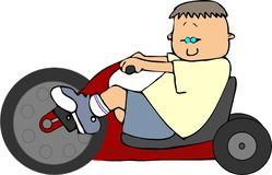Boy On A Big Wheel Trike. This illustration depicts a small boy riding a big wheel tricycle Stock Image