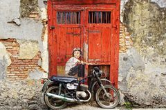 Boy on a Bik mural Royalty Free Stock Photography