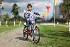 Boy with bike Royalty Free Stock Image