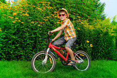 Boy on a bike Stock Images