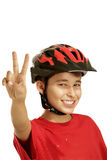 Boy bike helmet Stock Images