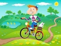 Boy on the bike. The boy on the bike on the nature landscape background. Summer time Stock Photos