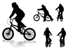 Boy on bike. A boy rides a bicycle on a walk Stock Photos