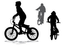 Boy on bike. A boy rides a bicycle on a walk Royalty Free Stock Image