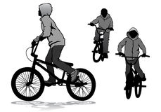 Boy on bike. A boy rides a bicycle on a walk Royalty Free Stock Photos