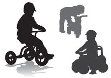 Boy on bike. The boy sits on the bike. Walk on the bike Stock Photography