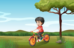A boy biking at the hill Royalty Free Stock Photos