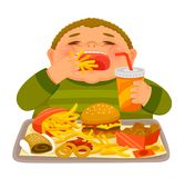 Boy binge eating junk food. Overweight boy mindlessly eating large amounts of unhealthy fast food Stock Images