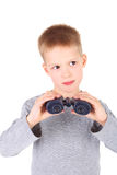 Boy and binocular Royalty Free Stock Photo
