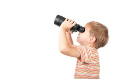 Boy with binoculars. Isolated over white Royalty Free Stock Images