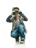 Boy with a binoculars Royalty Free Stock Photography
