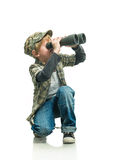 Boy with a binoculars Royalty Free Stock Images