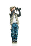 Boy with a binoculars Stock Photography