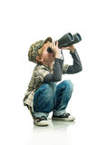 Boy with a binoculars Stock Images