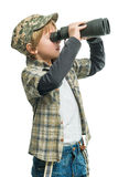 Boy with a binoculars Royalty Free Stock Photos