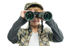 Boy with a binoculars Stock Photos