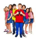 Boy with binoculars with other kids Royalty Free Stock Photography