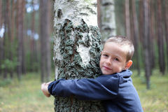 Boy and birch tree. 7 years old boy with birch tree - kids royalty free stock photography