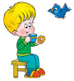 Boy and bird Royalty Free Stock Photo