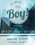 Boy birth announcement flyer template Stock Photography
