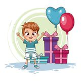 Boy with birthay gifts and balloons. Vector illustration graphic design Royalty Free Stock Photos