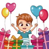 Boy with birthay gifts and balloons. Vector illustration graphic design Stock Photography
