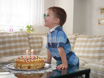 Boy and birthday Stock Photos