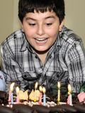 Boy and birthday cake Royalty Free Stock Images