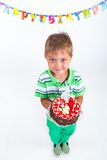 Boy with birthday cake Stock Photo