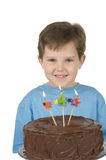 Boy with Birthday Cake Royalty Free Stock Photos