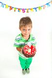 Boy with birthday cake. Cute little boy with birthday cake on birthday party Royalty Free Stock Photos
