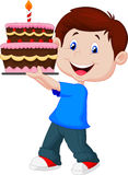 Boy with birthday cake Royalty Free Stock Photography