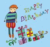 Boy with birthday present. Hand drawn holiday presents, happy birthday logo Royalty Free Stock Images