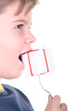 Boy bites a gift on a plug. On a white background Royalty Free Stock Photo