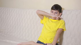 Boy biting his nails obsessive-compulsive disorder, child psychology stock video