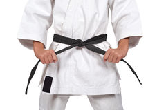 Boy with black belt Royalty Free Stock Images