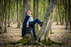 Boy with black cape Stock Photo