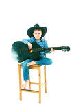 The boy with a black guitar Stock Photo