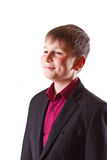 Boy in a black jacket Royalty Free Stock Image