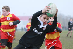 Boy with black jacket play rugby and score a try. 15 teams of north Italy, with children under 11 years, have participated in a tournament of youth rugby in Royalty Free Stock Photo