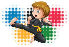 Boy in black karate uniform Royalty Free Stock Images
