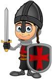 Boy Black Knight - Holding Shield & Sword Stock Photography