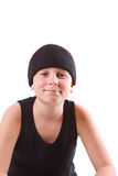 Boy in a black T-shirt and a black hat Stock Photos