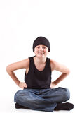 Boy in a black T-shirt and a black hat Royalty Free Stock Image