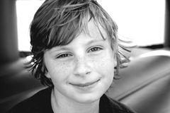 Boy in black and white. Black and white photo of boy Stock Photography
