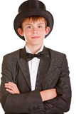 Boy in Black and White Formal Suit with Top Hat Royalty Free Stock Images