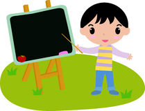 Boy and blackboard Stock Images